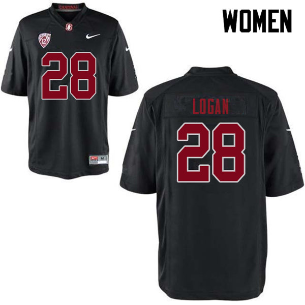 Women #28 Donjae Logan Stanford Cardinal College Football Jerseys Sale-Black